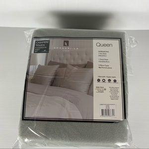 Shang-La Linen Silver Cashmere Ultra-Soft Flannelette Sheet Set Size Queen